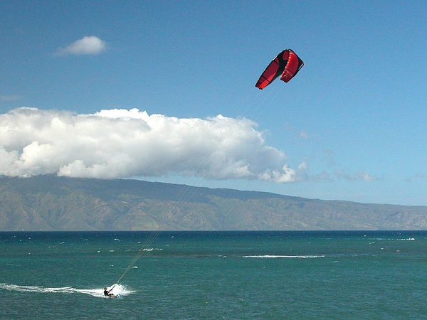 Kite surfer Kahana Beach, Maui