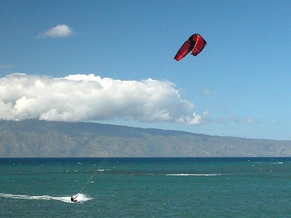 Kite surfer Kahana Beach, Maui