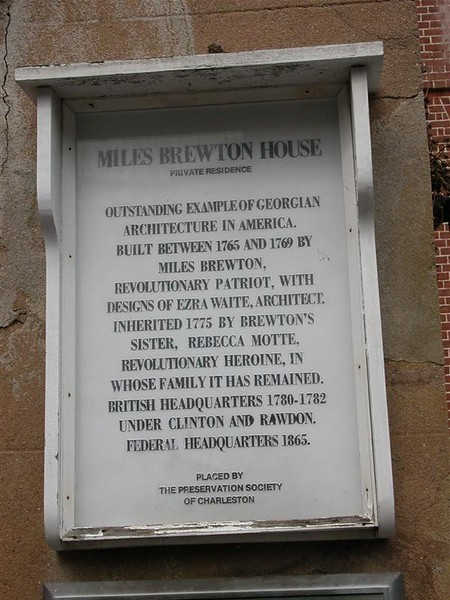 Said to be one of the more important buildings in Charleston, the Miles Brewton House built around 1765