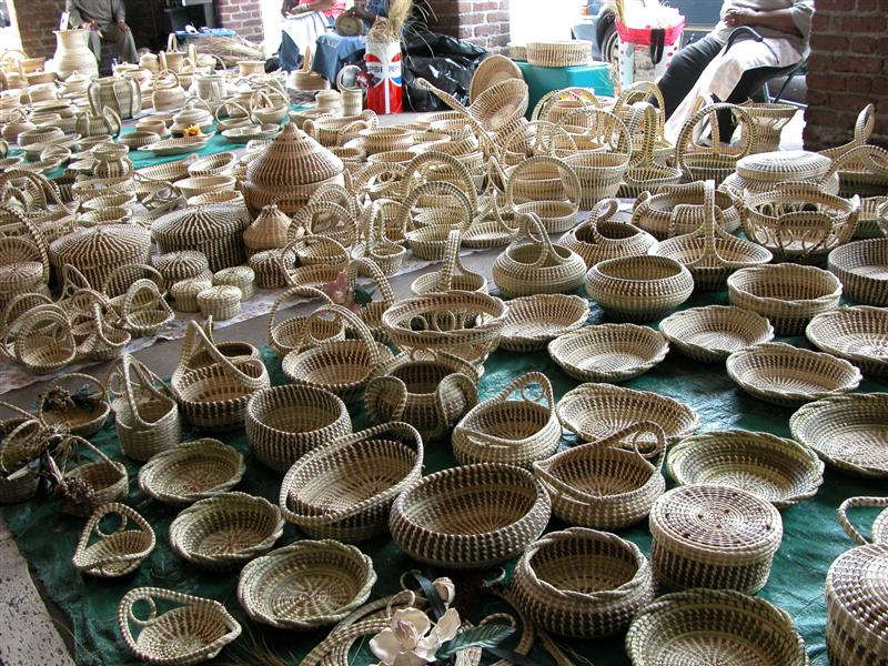 Some of the renowned sweet sea grass baskets from the area.
