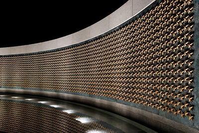 WWII Memorial   In this field of 4,000 gold stars each star represents 100 of the 400,000 American lives lost in the war.