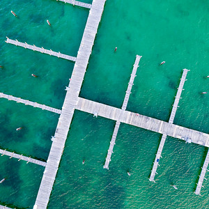 Docks in Elk Rapids Aerial