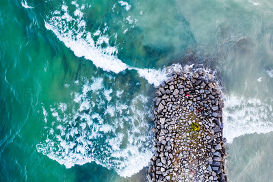 Breakwall in Elk Rapids Aerial