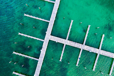 Docks in the Elk Rapids Harbor Aerial