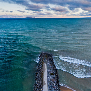 Elk Rapids Morning Aerial