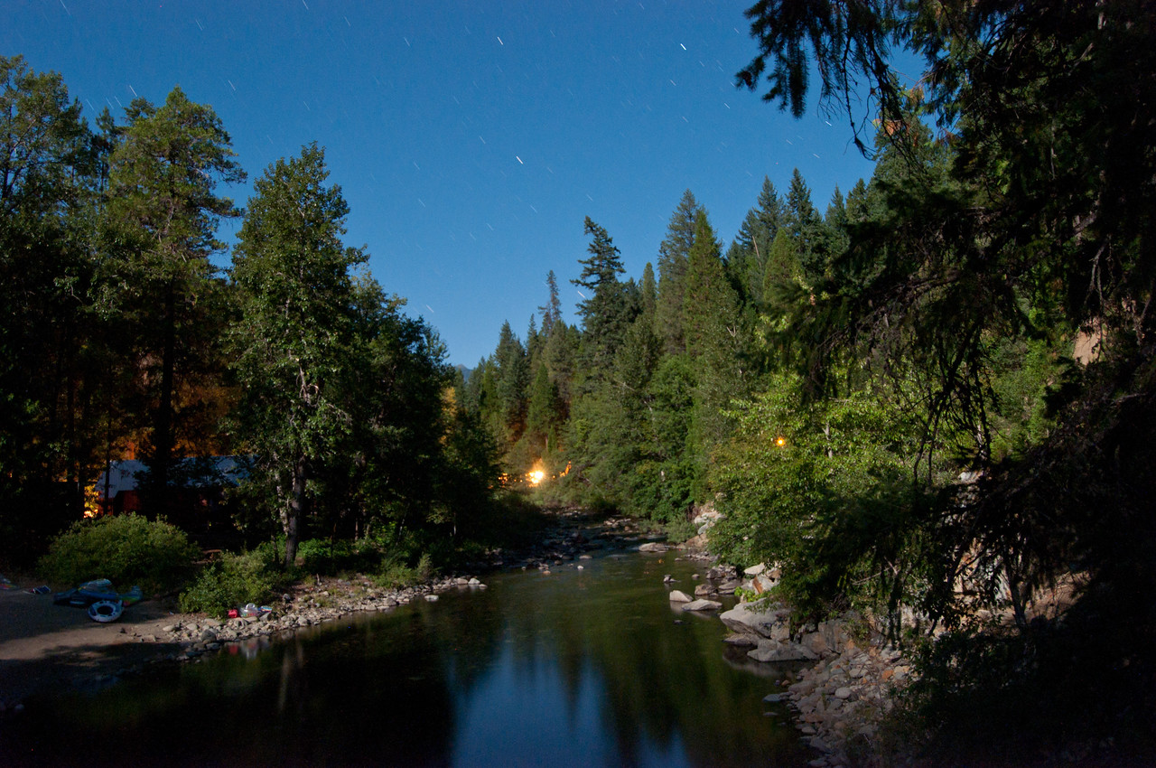 Swimming hole at night (shutter opened up for 2 minutes at 10:30 p.m. Notice the stars).