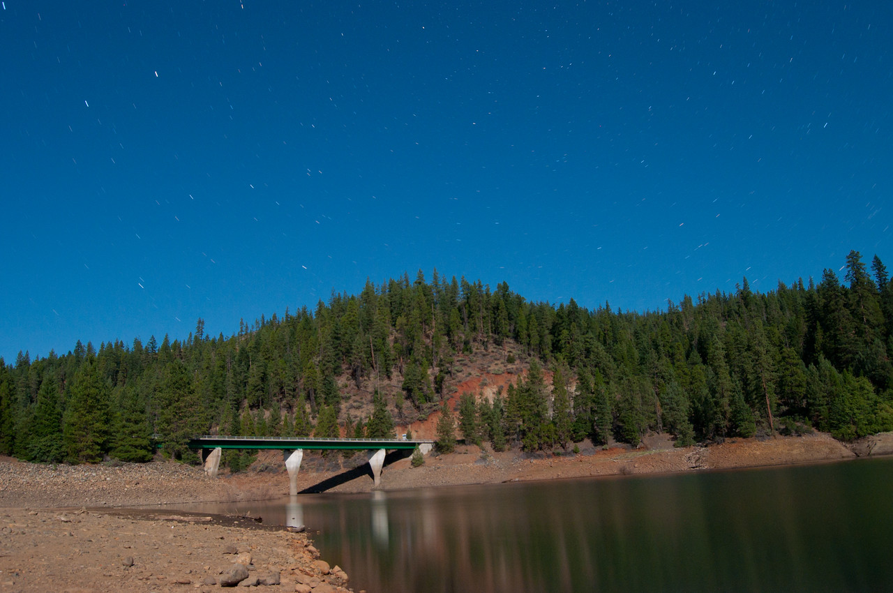 Trinity Lake at night (shutter opened up for 3 minutes at nighttime - notice the stars).