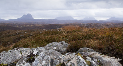Suilven, Canisp, Cul Mor and Stac Pollaidh from Road to Clachtoll, (above Achadhantuir), North of Lochinver