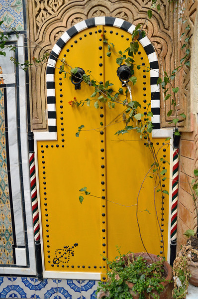 Yellow door in shop, Sidi Bou Said