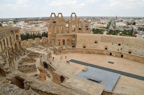 East view from top of Amphitheater, El Jem