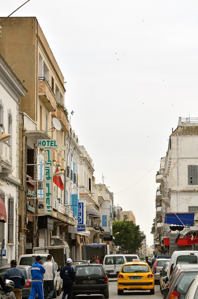 Outside the food market in Tunis