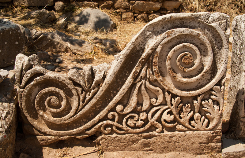 Intricately carved stone.