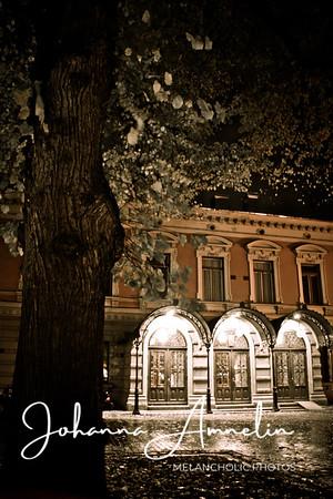 Turku åbo finland night lights autumn city hall