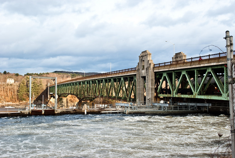 Turners Falls Bridge with some of the industrial power canal.