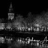 aurajoki turku åbo river city finland joki yö night night lights maisema city scape urban black and white church