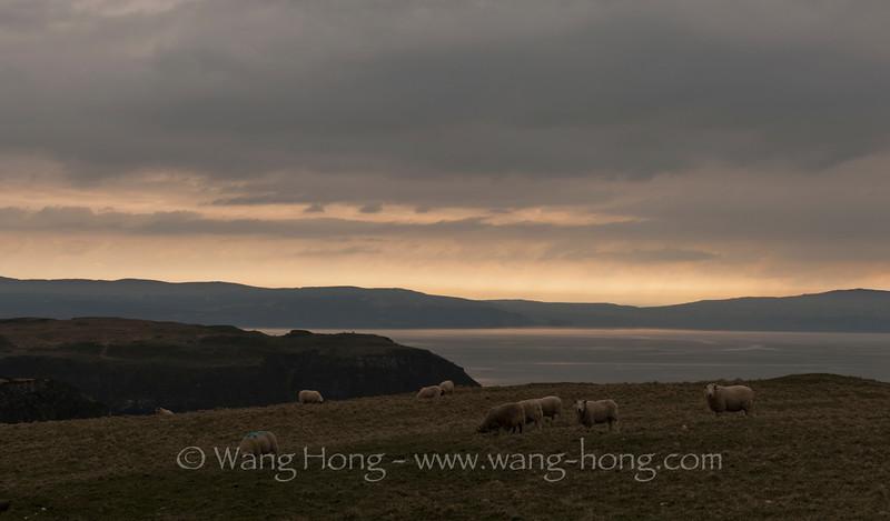 At dusk on the Isle of Skye off the Scottish Northwestern Highland.
