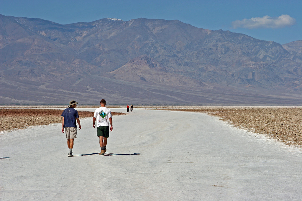 Salt flats.<br /> <br /> David Liedner and Tony looking west.