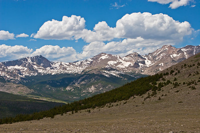 St. Vrain Mountain Trail, looking northwest from the St Varin-Meadow Mountains saddle towards the Continental Divide and the Rocky Mountain National Park's Wild Basin Area. See the Rocky Mountain National Park map to identify the peaks and leave a comment if you can.