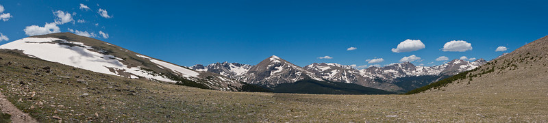 St. Vrain Mountain Trail, panorama looking west towards the Continental Divide, Rocky Mountain National Park's Wild Basin Area, including Mount Copeland  (13,176'), Ouzel Peak (12, 12,716'), Mahana Peak (12,632'), Longs Peak (14,259') and Mt Meeker (13,911'). See the Rocky Mountain National Park map to help identify the peaks. Leave a comment indicating which is which if you can.