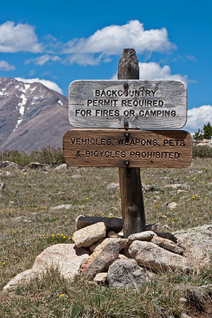 St. Vrain Mountain Trail, Rocky Mountain National Park information applying to the 200 yards of the trail that skirts into the Park.