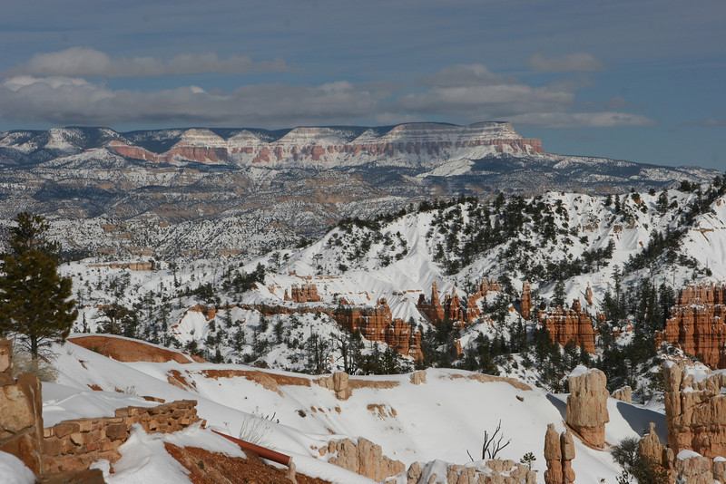 Northeast towards Escalante Mountains from Fairyland Point after snowshoeing in from the main road in Bryce.