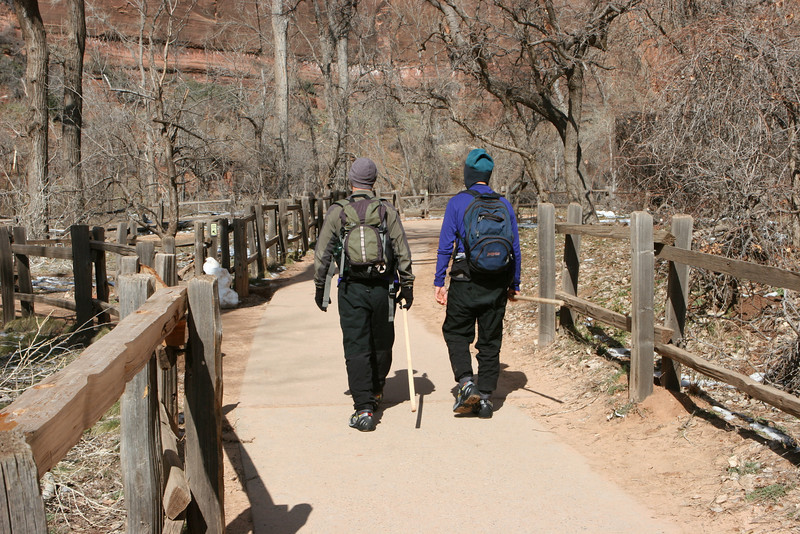 Start of the Riverside Walk along the North Fork of the Virgin River from the Temple of Sinawava heading for the Narrows in Zion.