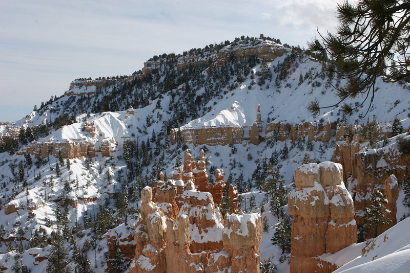 Towards Boat Mesa from Fairyland Point after snowshoeing in from the main road in Bryce.