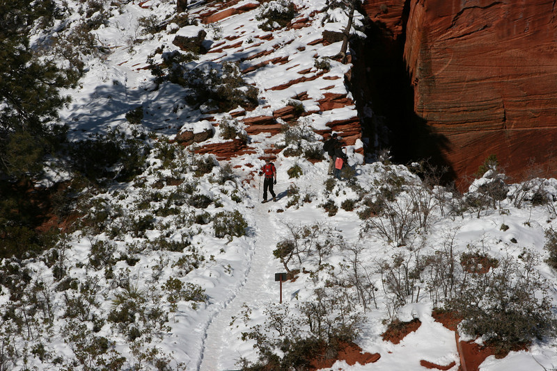 Descending from the saddle in Angels Landing Trail in Zion.