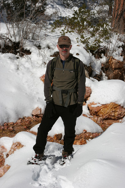 Snowshoeing in Jolley Hollow east of Bryce off route 12.