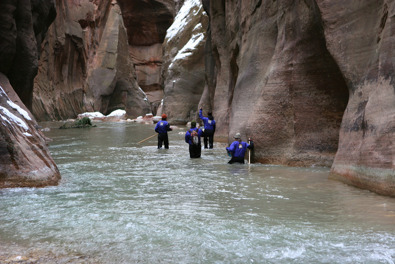 Another group heading downstream from the junction of Orderville Canyon and the Narrows in the North Fork of the Virgin River in Zion.