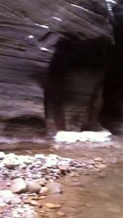 Video - click arrow to view. Dry land at the junction of Orderville Canyon and the Narrows in the North Fork of the Virgin River in Zion.