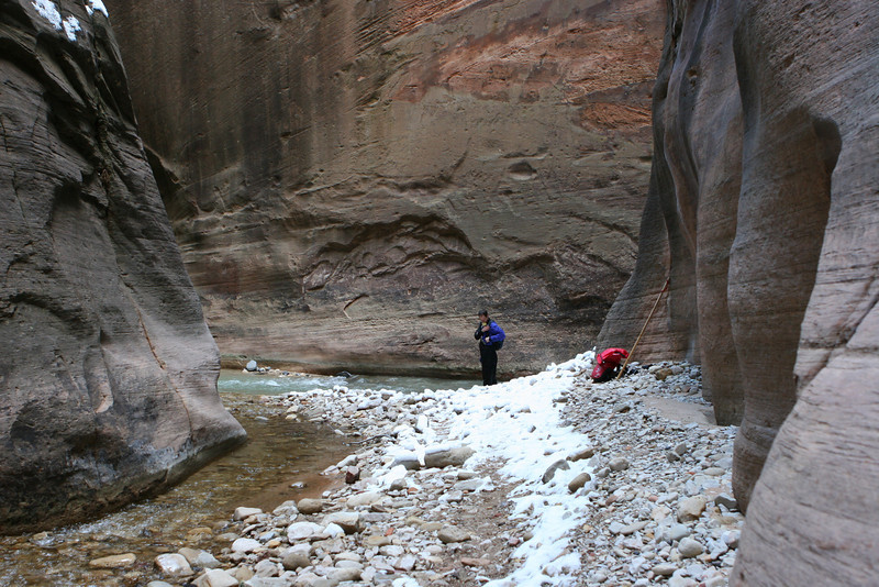 Toward the Narrows in the North Fork of the Virgin River from Orderville Canyon in Zion.