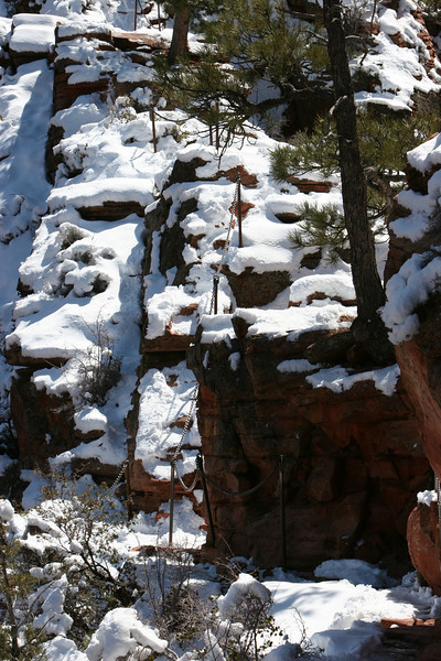 Start of final ascent from the saddle in Angels Landing Trail in Zion.