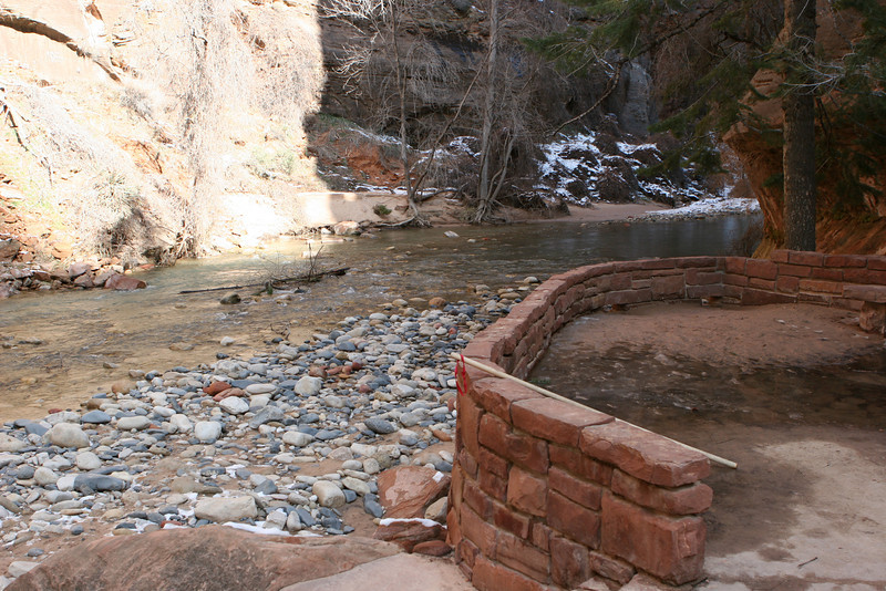 End of the Riverside Walk along the North Fork of the Virgin River and start of the Narrows in Zion.