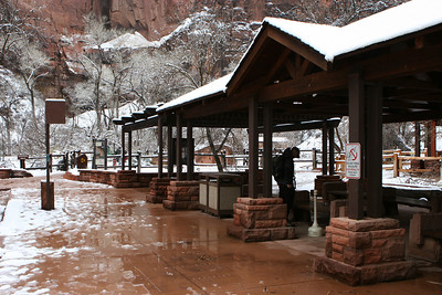 Pavilion at the start of the Riverside Walk along the North Fork of the Virgin River from the Temple of Sinawava parking lot up to the Narrows in Zion.