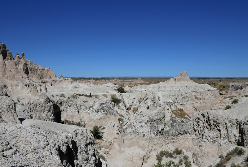 September 20, 2017 - Badlands National Park. View north from the Notch Trail looking back at the ladder from the valley floor to the bench where most of the trail is located.