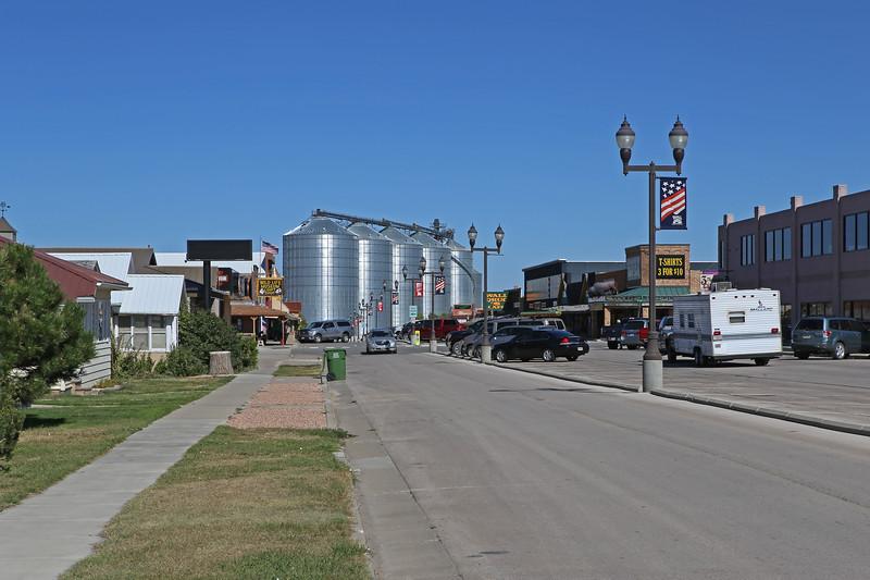 September 21, 2017. Grain silos and the 'famous' Wall Drug Store, Main Street, Wall, South Dakota.