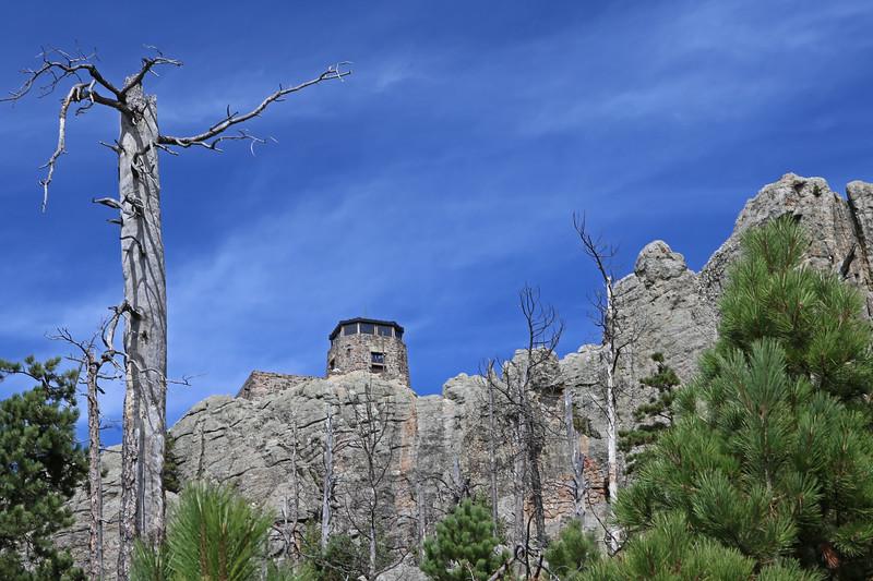 September 18, 2017 - Custer State Park. Hiking up Black Elk (Harney) Peak. The fire tower at the peak.
