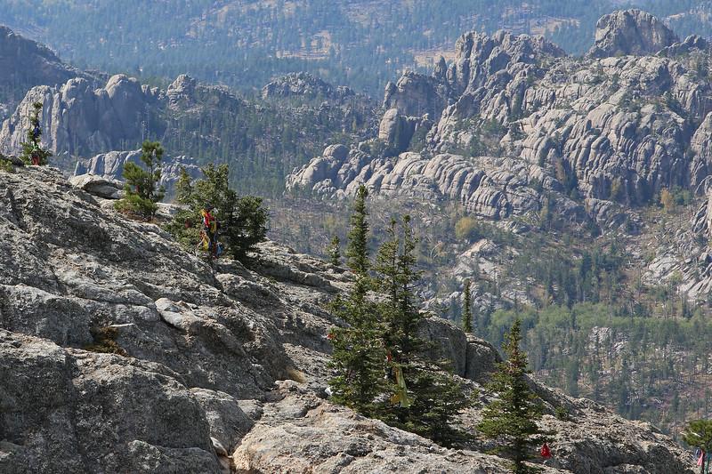 September 18, 2017 - Custer State Park. Hiking up Black Elk (Harney) Peak. Prayer flags at the peak.
