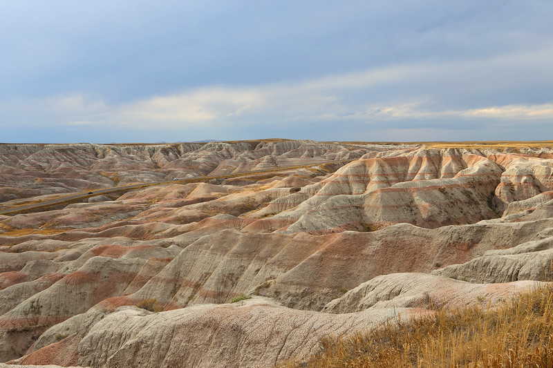 September 19, 2017 - Canyon Lands National Park. View west from Big Foot Pass Overlook .The paved road approximates the path taken by Chief Big Foot and his people took to descend the Badlands wall on their way to Pine Ridge (and the Massacre at Wounded Knee).