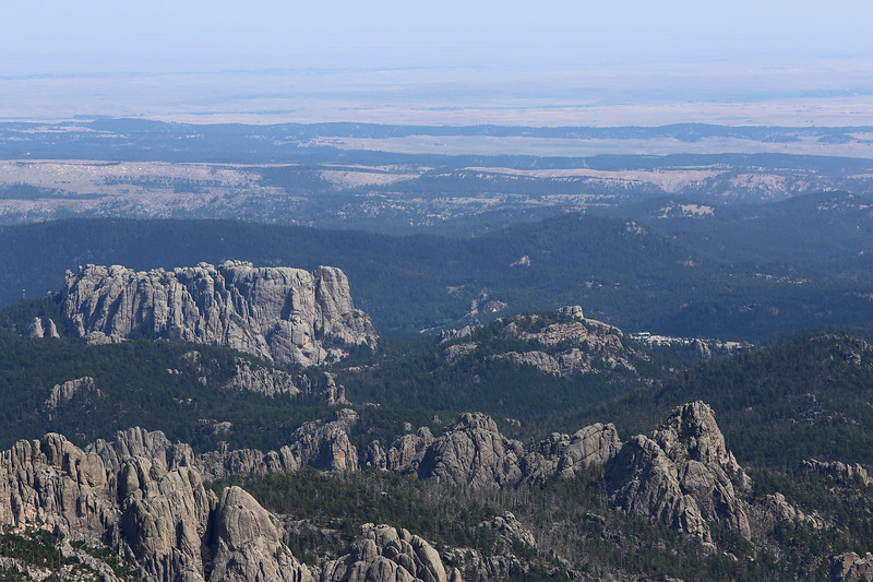 September 18, 2017 - Custer State Park. Hiking up Black Elk (Harney) Peak. The large massif in the center left is the west (back) side of Mount Rushmore.