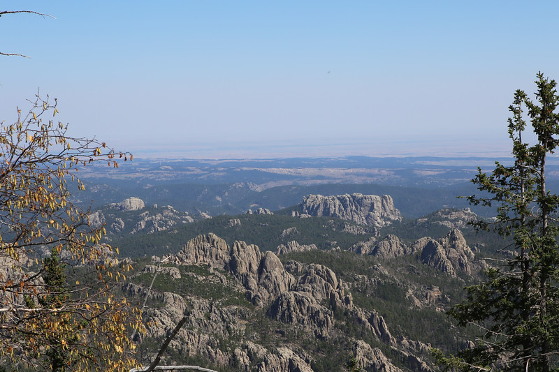 September 18, 2017 - Custer State Park. Hiking up Black Elk (Harney) Peak. View east along the trail. The large massif in the center right is the west (back) side of Mount Rushmore.