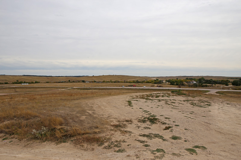 September 19, 2017 - Pine Ridge Reservation and the Memorial to the Massacre of Wounded Knee. View from the cemetery and site of the Hotchkiss guns towards Big Foot's camp and the massacre.