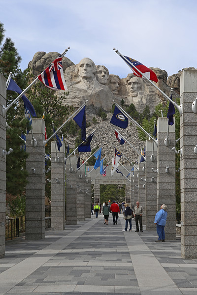 September 17, 2017 - Mount Rushmore National Memorial. There is a massive, multilevel parking garage and a huge visitor center complex - all with an architecture vibe somewhere between Mussolini's rigidity and contemporary Chinese Communist grandeur.