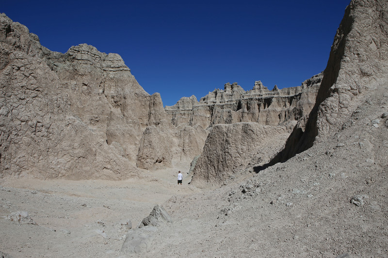 September 20, 2017 - Badlands National Park. View of the Notch Trail from the Notch looking north.
