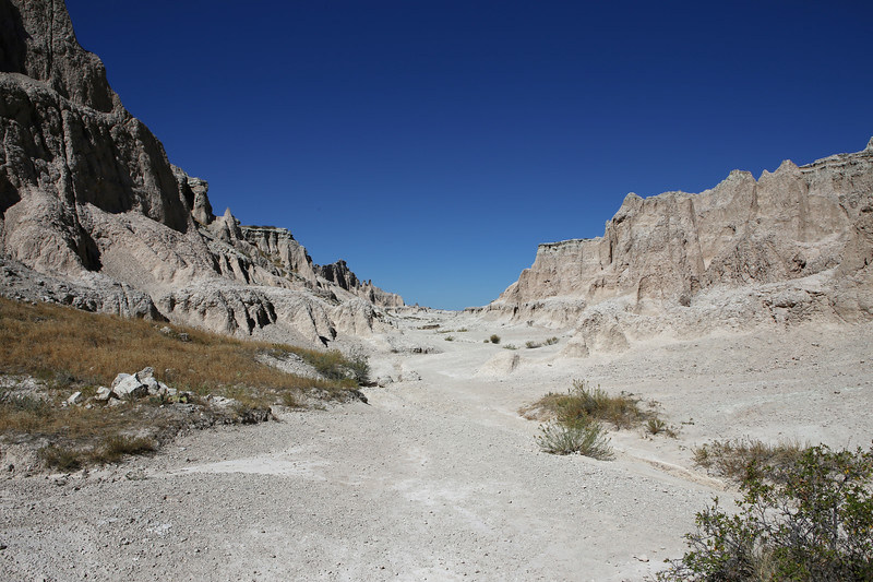 September 20, 2017 - Badlands National Park. View of the Notch Trail near the Notch looking north.