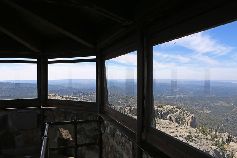 September 18, 2017 - Custer State Park. Hiking up Black Elk (Harney) Peak. View from inside the fire tower looking northwest.