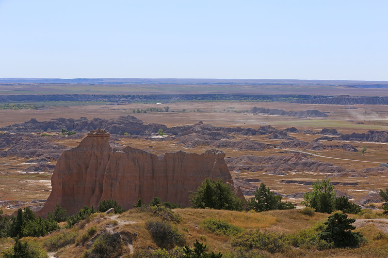 September 20, 2017 - Badlands National Park. View from the Cliff Shelf Nature Trail looking south towards the White River Valley in the middle distance.