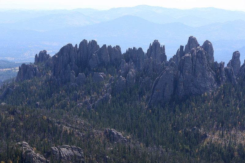 September 18, 2017 - Custer State Park. Hiking up Black Elk (Harney) Peak. The eponymous Needles from the peak.