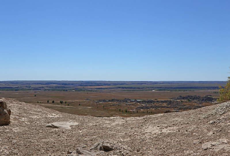 September 20, 2017 - Badlands National Park. View south of the White River Valley from the end (the Notch) of the Notch Trail. White River travels left-right in the middle distance.